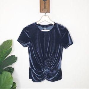 Aqua navy velvet knot short sleeved shirt